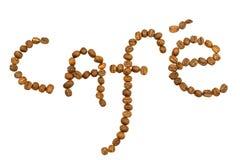 λέξη καφέδων coffeebeans Στοκ Φωτογραφίες