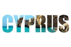 Λέξη ΚΎΠΡΟΣ πέρα από το tou Romiou, τόπος γεννήσεως της Petra Aphrodite Papho Στοκ Εικόνα
