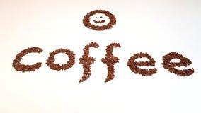 Λέξη με τα φασόλια καφέ Στοκ φωτογραφίες με δικαίωμα ελεύθερης χρήσης