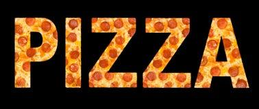 Λέξη πιτσών φιαγμένη από πίτσα με peperoni Στοκ Φωτογραφίες