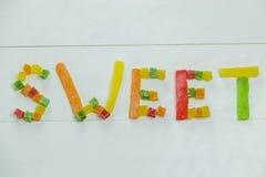 Λέξη που γίνεται γλυκιά από τον ξηρό ανανά Στοκ Εικόνες