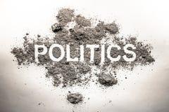 Λέξη πολιτικής στην τέφρα, ρύπος, βρωμιά, σκόνη ως κακή κυβέρνηση, κανόνας, Στοκ εικόνες με δικαίωμα ελεύθερης χρήσης