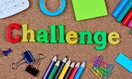 Λέξη πρόκλησης στο φελλό στοκ φωτογραφία με δικαίωμα ελεύθερης χρήσης