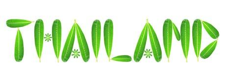 Λέξη Ταϊλάνδη από τα πράσινα φύλλα plumeria Στοκ Φωτογραφίες