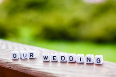 Λέξη των κύβων ο γάμος μας Στοκ Εικόνες