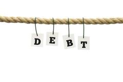 Λέξη - χρέος - στις επιστολές που κρεμούν από ένα σχοινί Στοκ Φωτογραφία