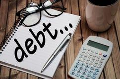Λέξη χρέους Στοκ εικόνα με δικαίωμα ελεύθερης χρήσης