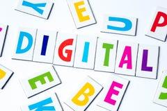Λέξη ψηφιακή φιαγμένη από ζωηρόχρωμες επιστολές Στοκ εικόνα με δικαίωμα ελεύθερης χρήσης