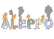 Λέξη ` Aleppo ` που σύρεται στο χαλασμένο ύφος κτηρίων Στοκ Εικόνα