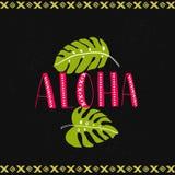 Λέξη Aloha με τα τροπικά φύλλα στο σκοτεινό υπόβαθρο Της Χαβάης διανυσματικό σχέδιο Στοκ Εικόνες