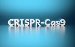 Λέξη CRISPR-Cas9 στο μπλε υπόβαθρο διανυσματική απεικόνιση