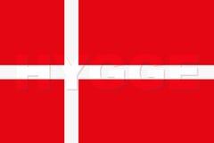 Λέξη HYGGE στη σημαία της Δανίας Στοκ φωτογραφίες με δικαίωμα ελεύθερης χρήσης
