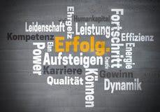 Λέξη Karriere Ehrgeiz Erfolg (στη γερμανική φιλοδοξία σταδιοδρομίας επιτυχίας) Στοκ Εικόνες