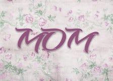 Λέξη mom στο αναδρομικό floral υπόβαθρο Στοκ φωτογραφία με δικαίωμα ελεύθερης χρήσης