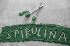 Λέξη SPIRULINA γραπτή στοκ εικόνες με δικαίωμα ελεύθερης χρήσης