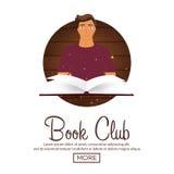 Λέσχη βιβλίων Λέσχη ανάγνωσης Ανοικτό βιβλίο με το απόκρυφο φωτεινό φως επίσης corel σύρετε το διάνυσμα απεικόνισης Στοκ φωτογραφίες με δικαίωμα ελεύθερης χρήσης