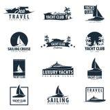 Λέσχη γιοτ και πλέοντας αθλητικό λογότυπο, ετικέτες, εμβλήματα και στοιχεία σχεδίου κόκκινο ταξίδι θάλασσας σχοινιών κινηματογραφ διανυσματική απεικόνιση