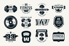 Λέσχη, ικανότητα και workout διακριτικά και λογότυπο γυμναστικής Στοκ φωτογραφία με δικαίωμα ελεύθερης χρήσης