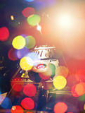 Λέσχη νύχτας μουσικής του DJ, υπόβαθρο του DJ αστεριών μουσικής Στοκ Φωτογραφία
