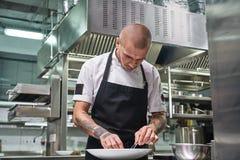 Λήξη ενός πιάτου Ελκυστικός αρσενικός αρχιμάγειρας με τις όμορφες δερματοστιξίες στα όπλα του που διακοσμεί το πιάτο του στο πιάτ στοκ εικόνα με δικαίωμα ελεύθερης χρήσης