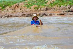Λήξη ψαράδων στον ποταμό στοκ εικόνα