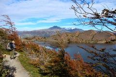 Λήψη κατά την άποψη Torres del Paine στη λίμνη National πάρκων Στοκ Εικόνα