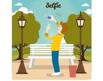 Λήψη της φωτογραφίας Selfie στην έξυπνη τηλεφωνική έννοια στο μπλε υπόβαθρο ευτυχές απομονωμένο άτομο ανασκόπησης πέρα από τις νε Διανυσματική απεικόνιση