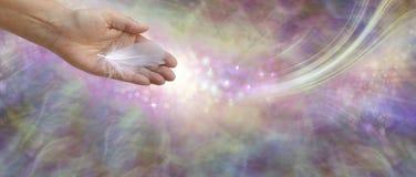 Λήψη του αγγελικού εμβλήματος μηνυμάτων βοήθειας στοκ εικόνες