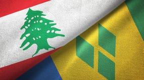 Λίβανος και Άγιος Βικέντιος και Γρεναδίνες δύο υφαντικό ύφασμα σημαιών απεικόνιση αποθεμάτων