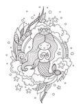 Λίγη γοργόνα βασίλισσας με τα ψάρια ελεύθερη απεικόνιση δικαιώματος