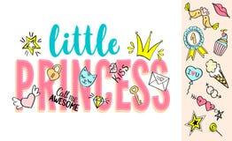Λίγη εγγραφή πριγκηπισσών με doodles girly και συρμένες χέρι φράσεις για το σχέδιο καρτών, τυπωμένη ύλη μπλουζών κοριτσιών ` s, α Στοκ εικόνα με δικαίωμα ελεύθερης χρήσης