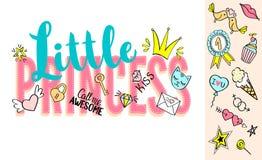 Λίγη εγγραφή πριγκηπισσών με doodles girly και συρμένες χέρι φράσεις για το σχέδιο καρτών, τυπωμένη ύλη μπλουζών κοριτσιών ` s, α Στοκ φωτογραφία με δικαίωμα ελεύθερης χρήσης