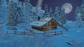Λίγη καμπίνα στα βουνά στη νύχτα χιονοπτώσεων διανυσματική απεικόνιση