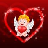 Λίγη καρδιά εκμετάλλευσης cupid Στοκ Εικόνα