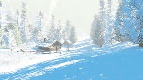 Λίγη καλύβα στα χιονώδη βουνά στη χειμερινή ημέρα απεικόνιση αποθεμάτων