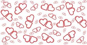 Λίγη κόκκινη καρδιά ζευγών, κάρτα, σχέδιο, πρότυπο για την ευτυχία διανυσματική απεικόνιση