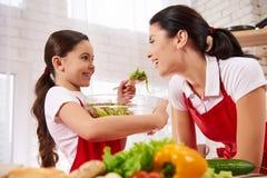 Λίγη κόρη ταΐζει τη μητέρα με το φύλλο στοκ εικόνες με δικαίωμα ελεύθερης χρήσης