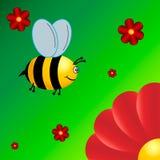 Λίγη μέλισσα πετά στο λουλούδι διανυσματική απεικόνιση