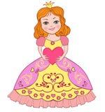 Λίγη πριγκήπισσα με μια καρδιά επίσης corel σύρετε το διάνυσμα απεικόνισης Στοκ εικόνες με δικαίωμα ελεύθερης χρήσης