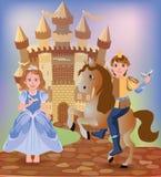 Λίγοι Cinderella και πρίγκηπας διανυσματική απεικόνιση