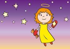 Λίγος άγγελος που καθαρίζει ένα αστέρι Στοκ εικόνα με δικαίωμα ελεύθερης χρήσης