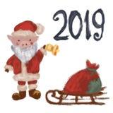 Λίγος Άγιος Βασίλης σε ένα κοστούμι Χριστουγέννων έλκηθρο με μια κόκκινη τσάντα Σύμβολο του έτους 2019 νέο έτος απομονωμένος διανυσματική απεικόνιση
