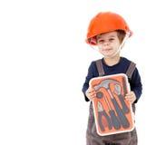 Λίγος εργαζόμενος στο πορτοκαλί κράνος με την εξάρτηση εργαλείων που απομονώνεται στο λευκό Στοκ φωτογραφία με δικαίωμα ελεύθερης χρήσης