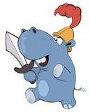 Λίγος ιππότης hippopotamus cartoon Στοκ Φωτογραφίες