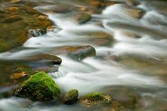 Λίγος ποταμός, μεγάλα καπνώδη βουνά Στοκ φωτογραφία με δικαίωμα ελεύθερης χρήσης