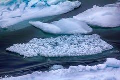 Λίγος πρωτοετής πάγος επιπλέοντος πάγου κατά τη διάρκεια thaw άνοιξη Στοκ Εικόνες