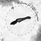 Λίγος χάρτης νησιών watercolor Cayman στο Μαύρο απεικόνιση αποθεμάτων