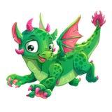 Λίγος χαριτωμένος πράσινος πετώντας νέος δράκος διανυσματική απεικόνιση