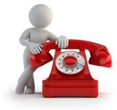 τρισδιάστατοι μικροί άνθρωποι - κλήση τηλεφωνικώς Στοκ Φωτογραφία