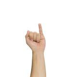 Λίγο δάχτυλο που απομονώνεται επάνω στο άσπρο υπόβαθρο Στοκ φωτογραφία με δικαίωμα ελεύθερης χρήσης